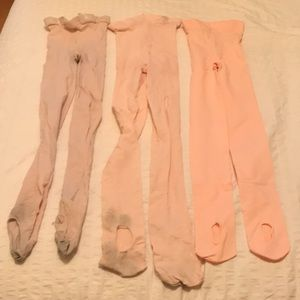 Three pair of ballet tights, NWOT and EUC